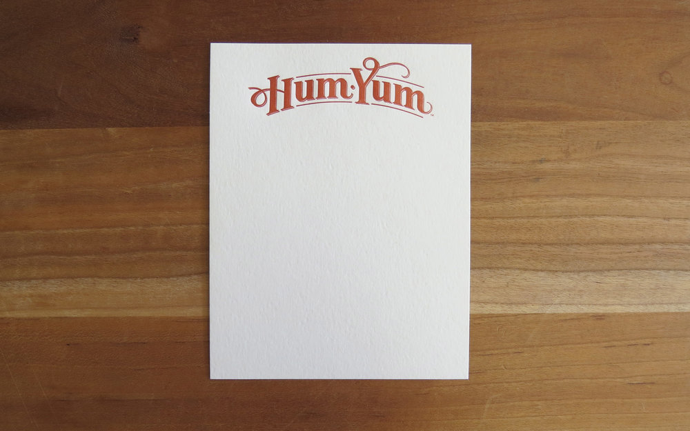 Hum Yum- Business stationery. 1 color, quarter sheet.