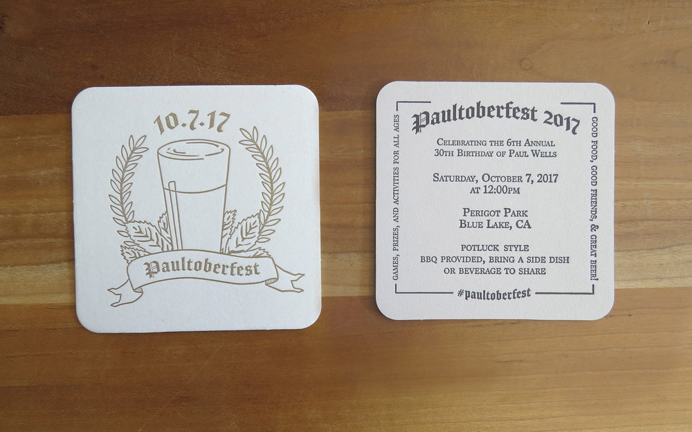 Coasters - Birthday party invitations. Two colors, two-sided.