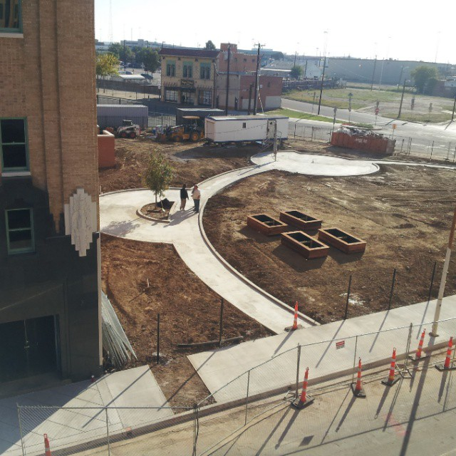 Dedication weekend rooftop view of garden site.