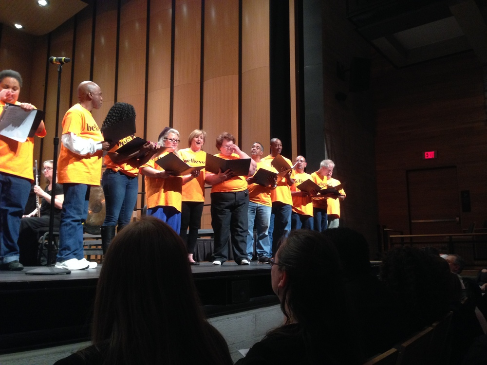 During the performance, a list of the names of Dallas homeless individuals who had died in 2014 and 2015 was shown behind the performers. The Stewpot maintains a list of those who have died and has a yearly memorial service to commemorate their lives.  photo credit: Carol J. Adams
