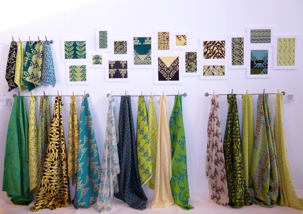 My new fabrics on the stand at Interiors UK