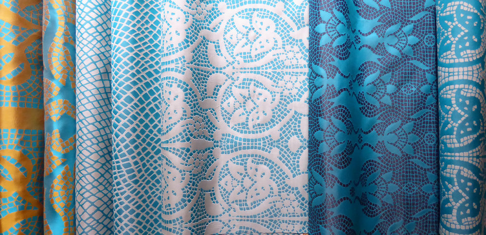 British Woven Silks - Woven in the UK these unusual 100% silk fabrics are available in a range of colours to order - please ask. Other co-ordinating designs, both large and small are available