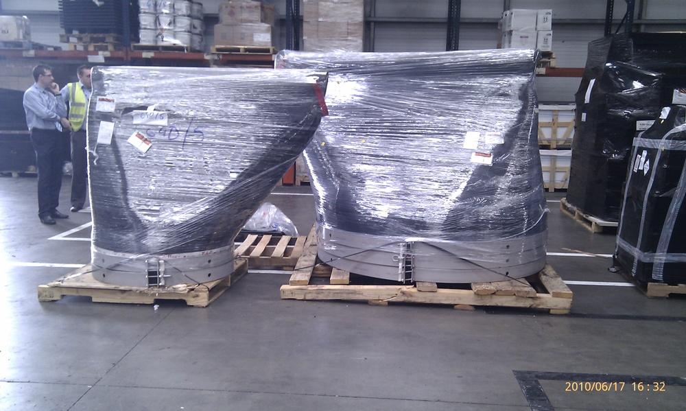 1840mm and 940mm Tideflex TF-1 duckbill valves in warehouse.
