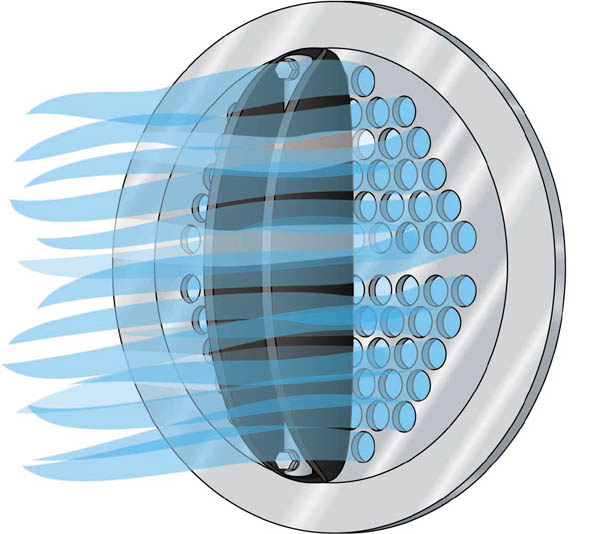 Waterflex check valve: forward hydraulic pressure folds elastomer disc away from perforated plate