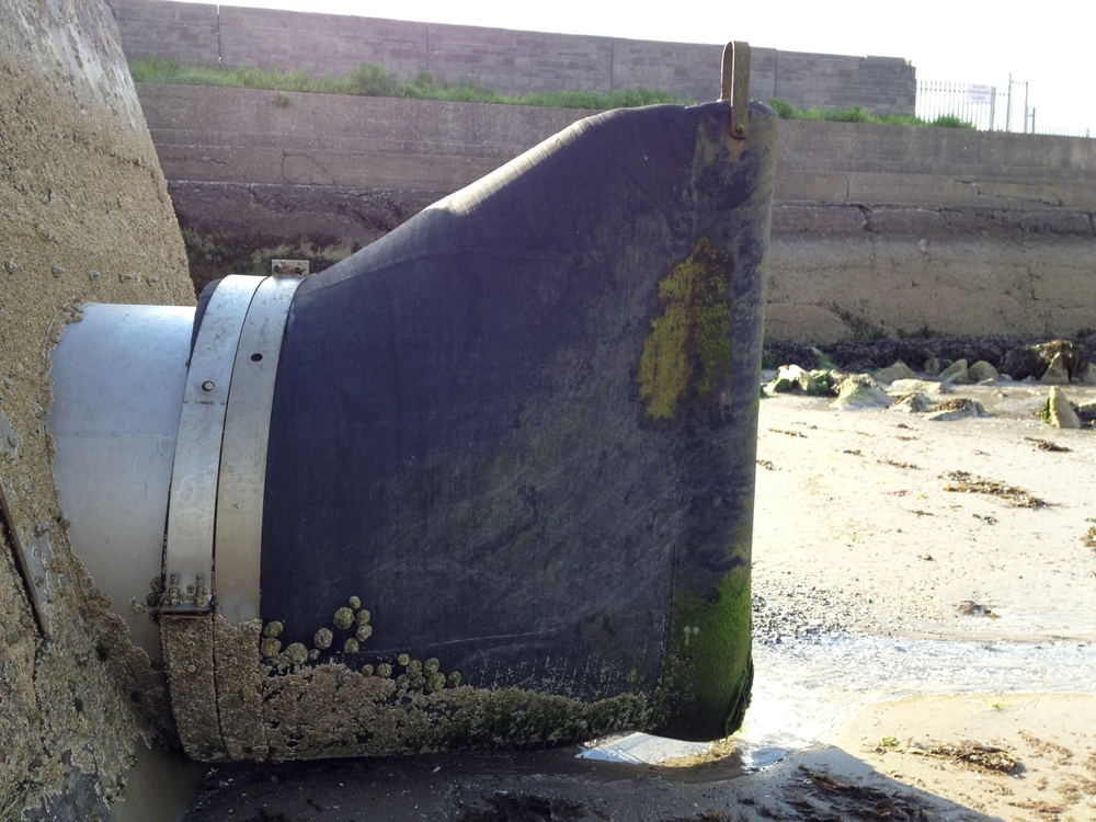 Tideflex non-return valve at low tide