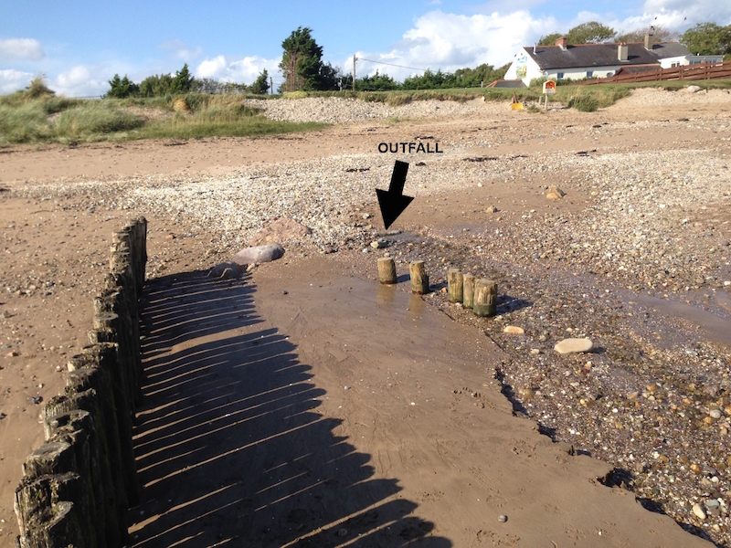 Flap valve routinely buried by shifting beach sand leading to upstream flooding.