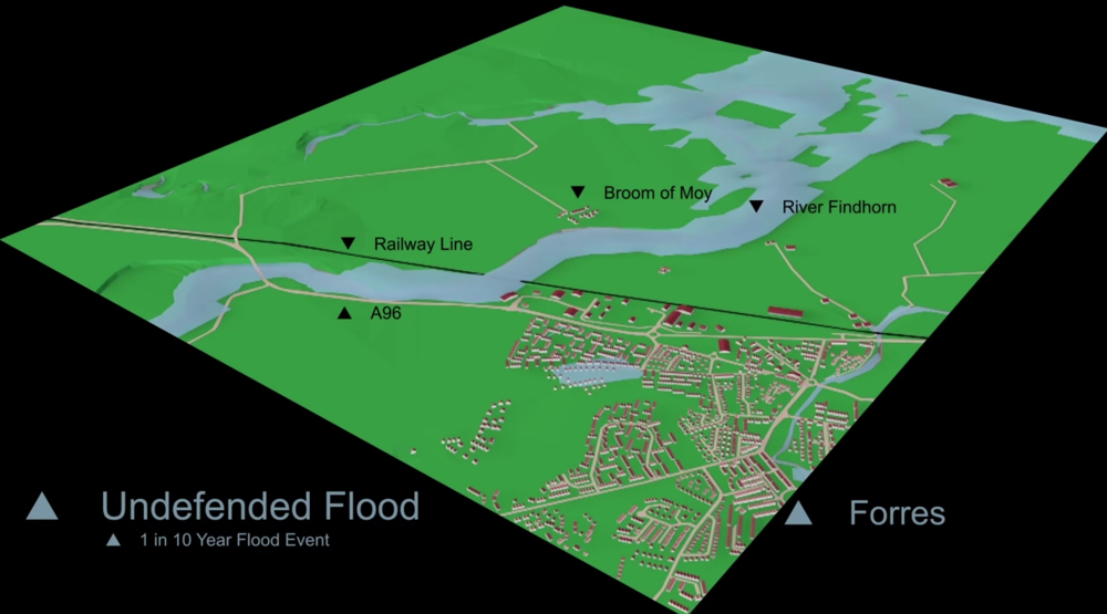 Forres Prior to Flood Defences - 1 in 10 year storm event (10% chance of this storm in any given year)