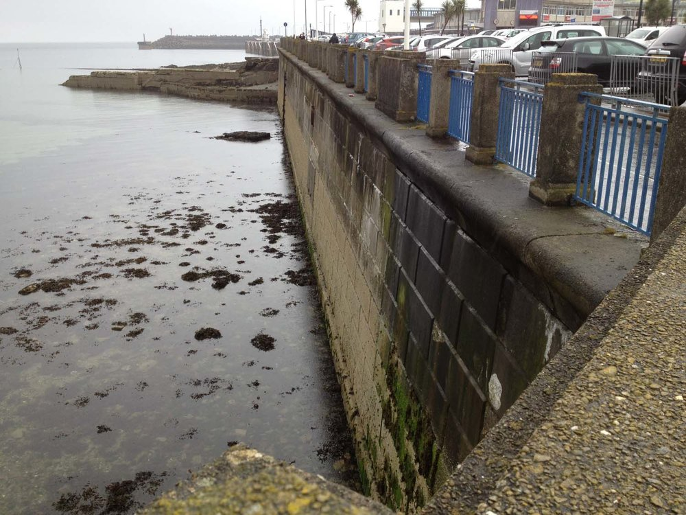 Sea wall at low tide