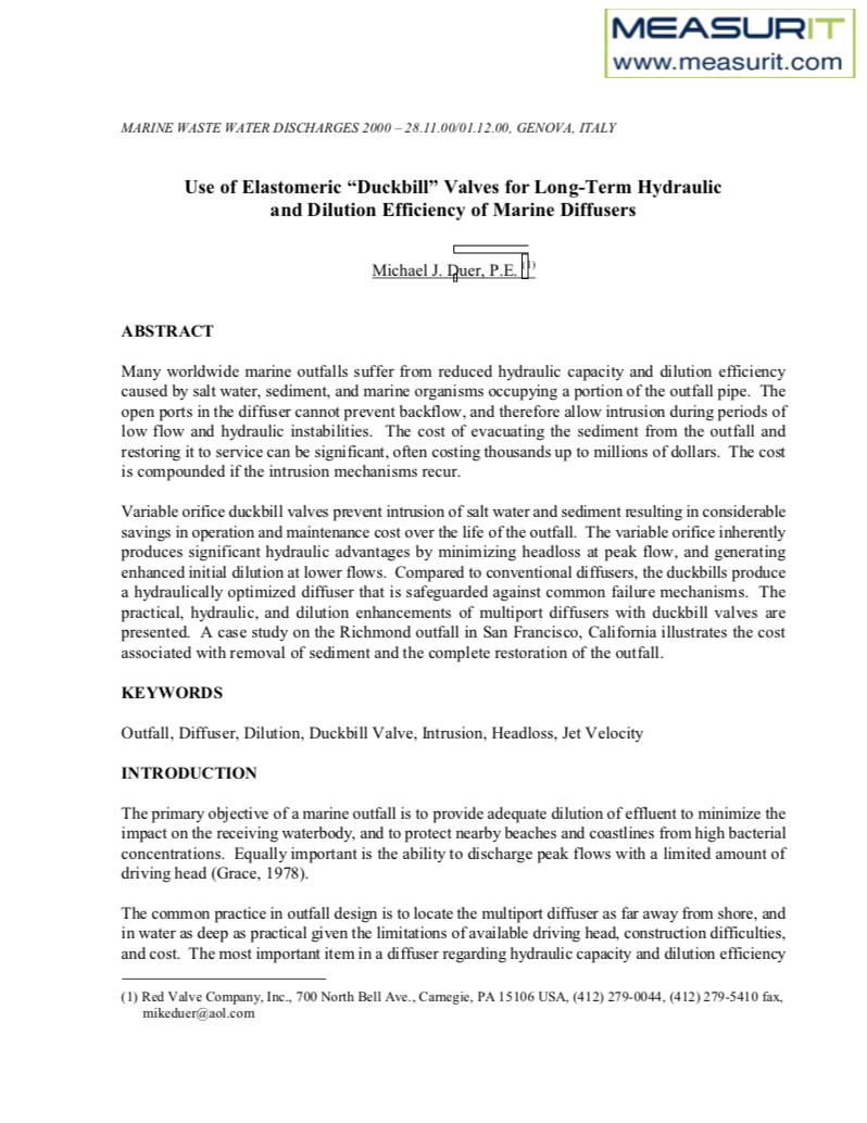 TF Diffuser Study Use of Elastomeric Valves