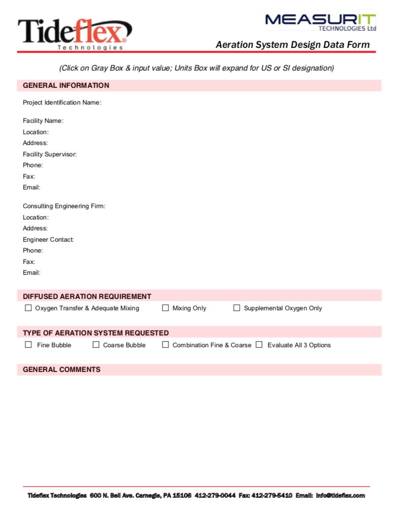 TF Aeration Design Form