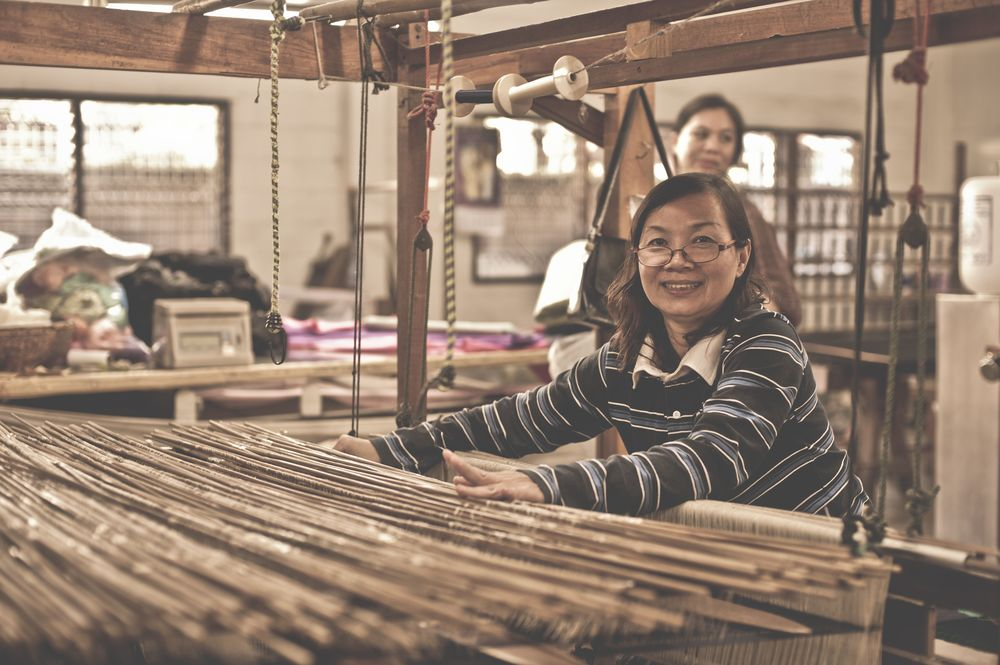 Workers at the silk weaving workshop, Chiang Mai