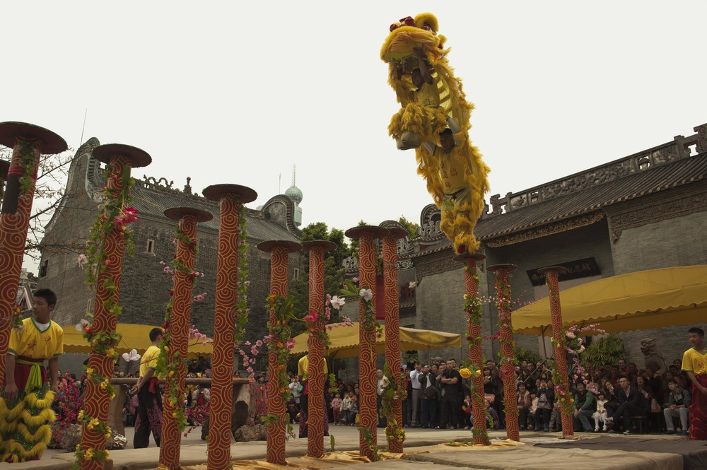 The spectacular Foshan-style Lion Dance at Zumiao Ancestor Temple.