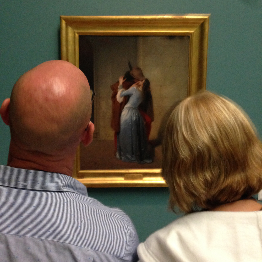 "Contemplating ""The Kiss"", Brera, Milan, Italy July 2014"