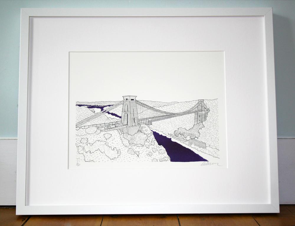 Clifton Suspension Bridge, Bristol. 40cm x 50cm (also available with a blue river)