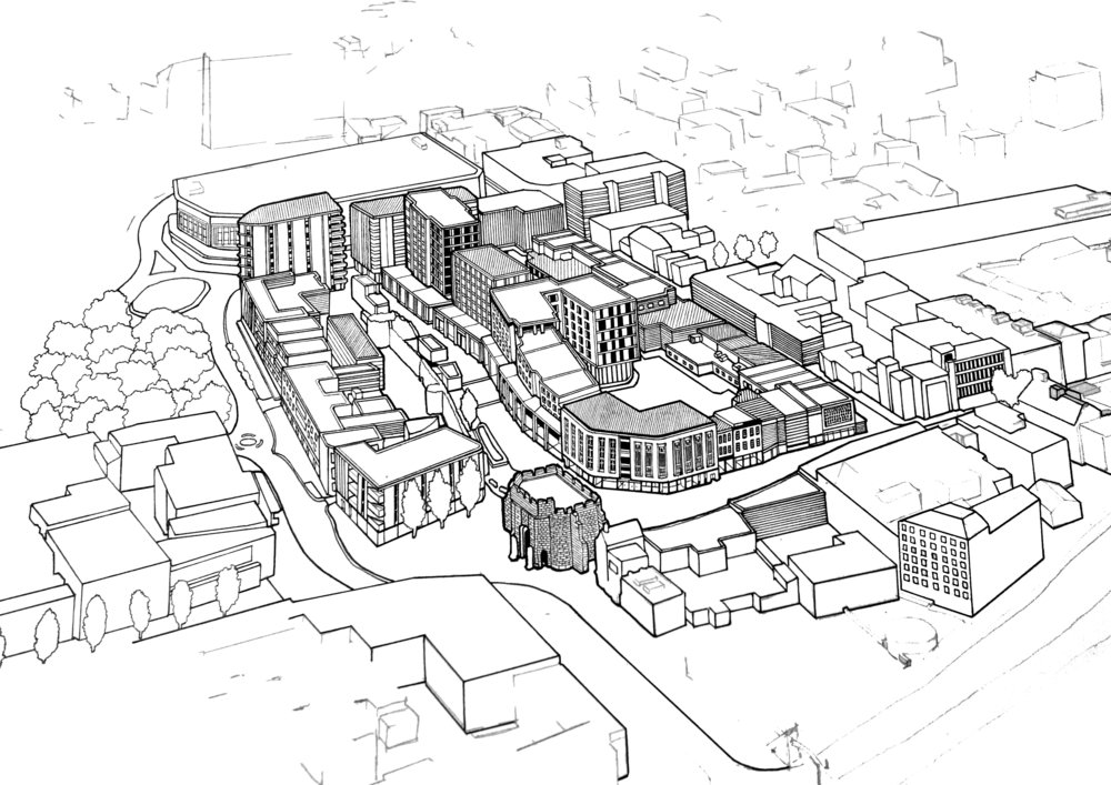Work in progress taken from a commission illustrating the Bargate development in Southampton.