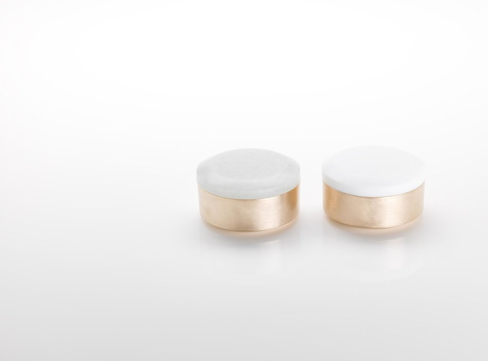 Pair of Round Boxes  Ice and Opaque White Glass with Cast Bronze 4.75cm h x 8cm d