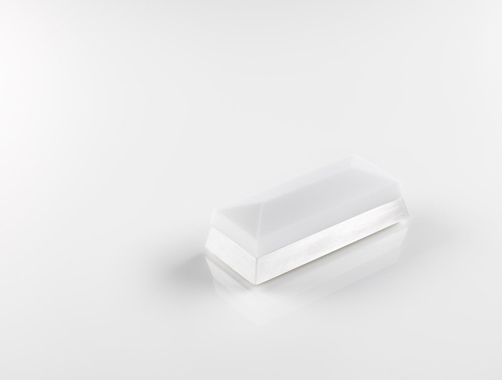 Rectangular Faceted Box  Opaque White Glass and Cast Silver 4cm h x 12cm l x 5.25cm w Private Collection, UK