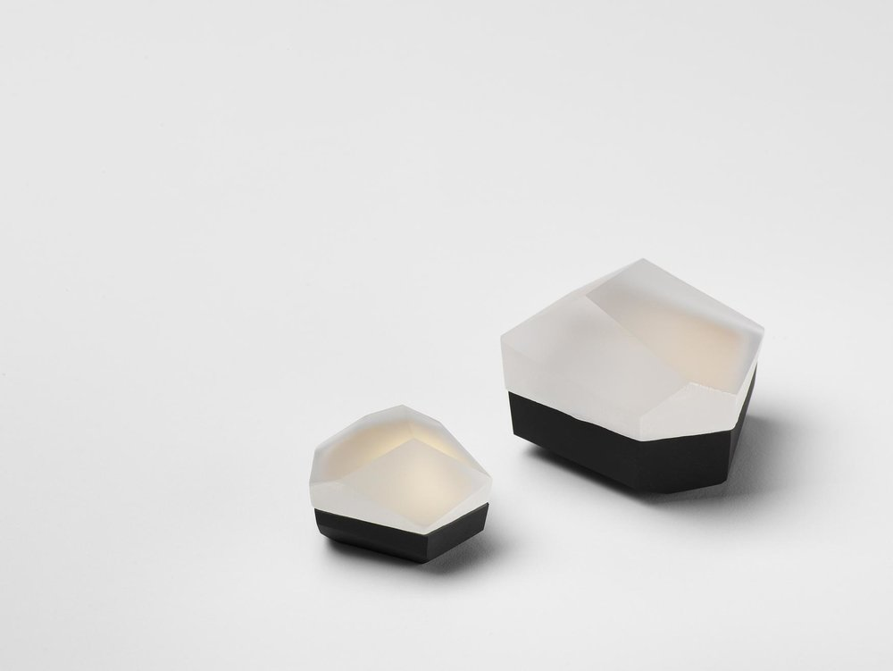 Small Faceted Boxes  Clear Glass and Black Fine Bone China with 22ct Burnished Gold Interior 8cm h x 16cm w Private Collection, Switzerland