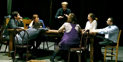 James Dunn*, Amber Walker, Ken Miller, Erika Haaland, Jack Dugan Carpenter*, Kristen T. King, and Sara Jean McCarthy*. Photo by Jasmine Dunn.