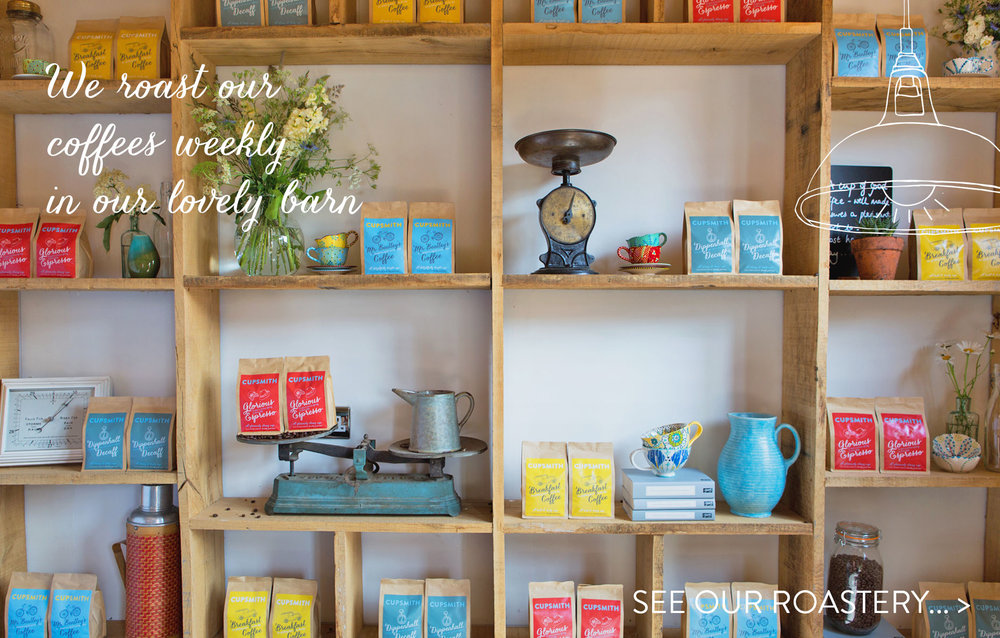 website image showing merchandised wall in the roastery. Photo styled by little bulldog design and Cupsmith and taken by  Catherine Frawley