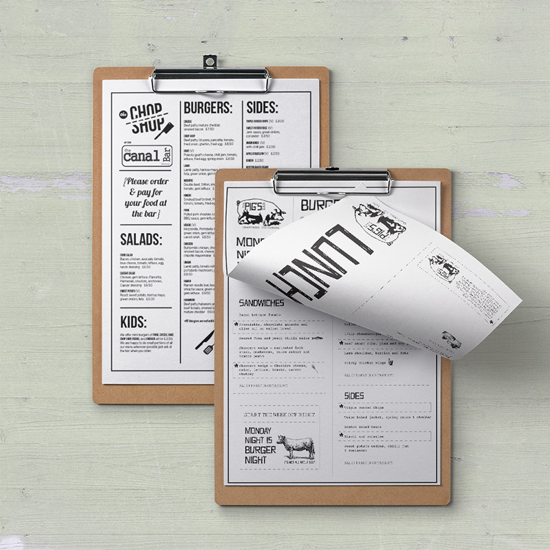 Modern, quirky menu designs for casual dining venues.