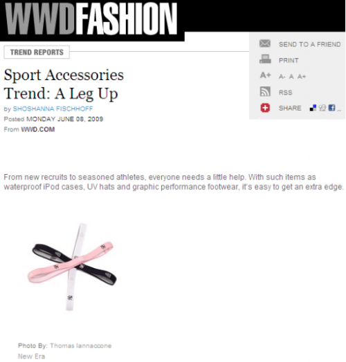 WWD Trend Report- Sports Accessories Featured licensed headbands, for Women & Kids. The silicone backing made them great for wearing the game, yoga or a run.