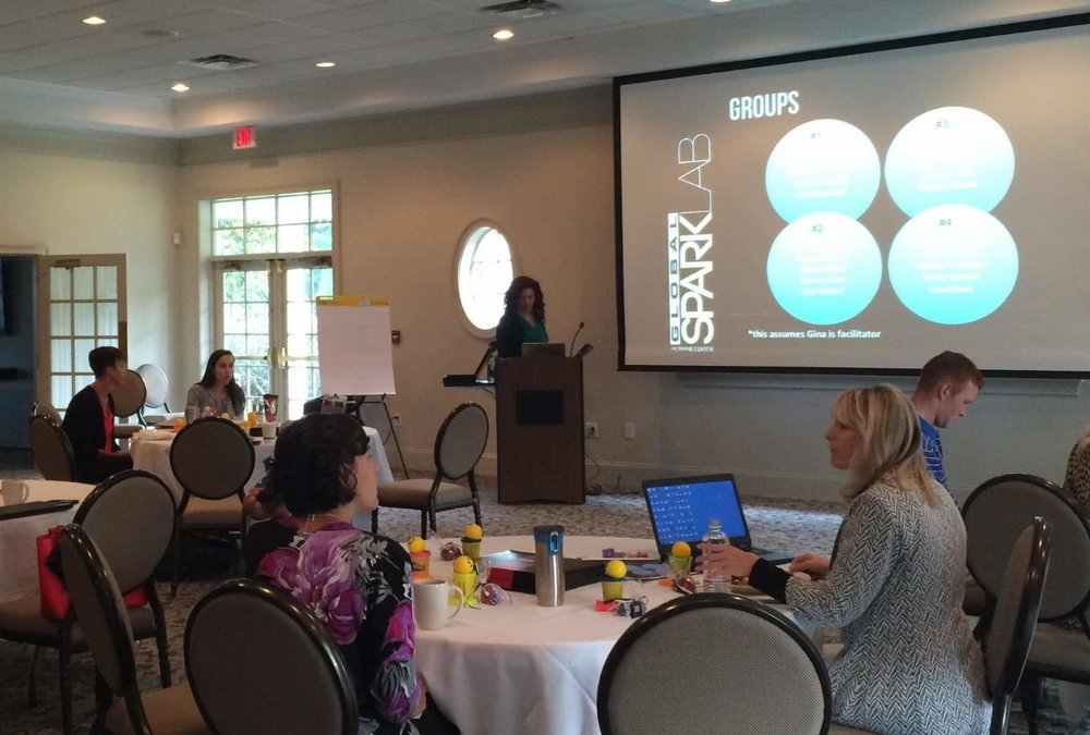 Gina facilitating a 35 participant off-site brainstorm held at Winston-Salem Country Club.