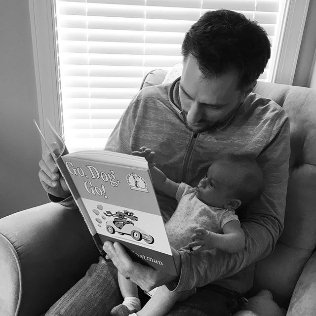Andy introducing Fletcher to one of his favorite books from childhood. 🥰 #FletchieJ