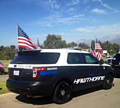 Part of the funeral procession for Covina Officer Corder, Oct 2014