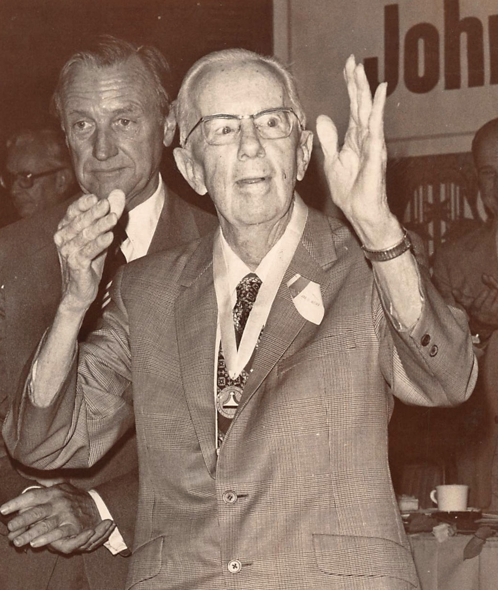 Jack Northrop acknowledges an ovation at a luncheon on Aug. 2, 1978. He died at 85 in 1981. (Daily Breeze staff file photo)