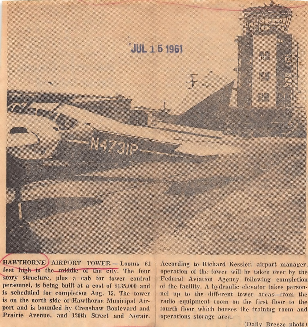 The new control tower under construction at Hawthorne Municipal Airport. Daily Breeze, July 15, 1961.