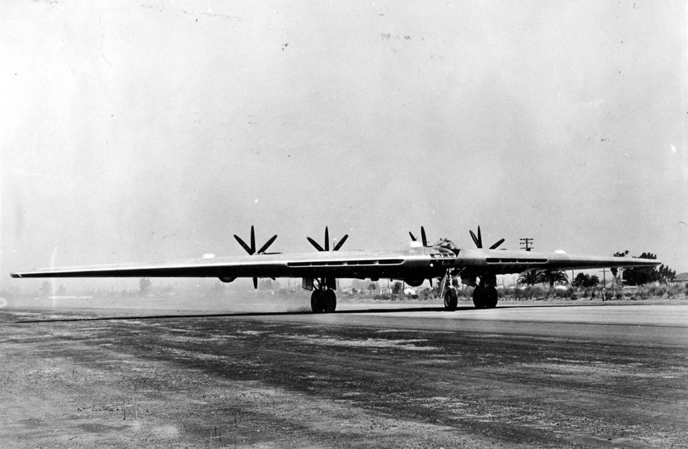 Northrop XB-35 taking off at Northrop Field, Hawthorne, California. (U.S. Air Force)