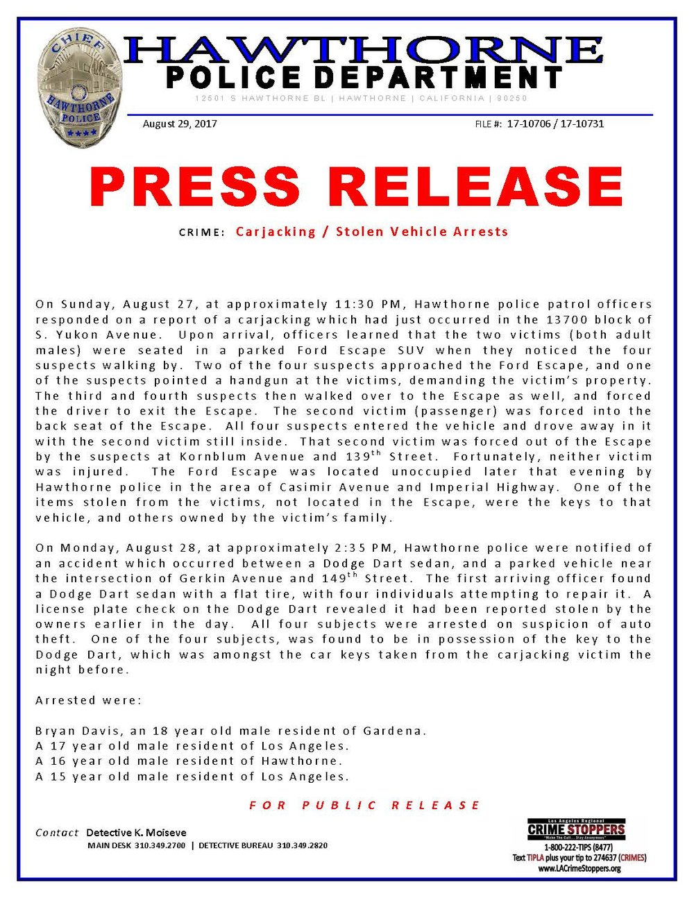 Carjacking stolen vehicle - arrests page 1