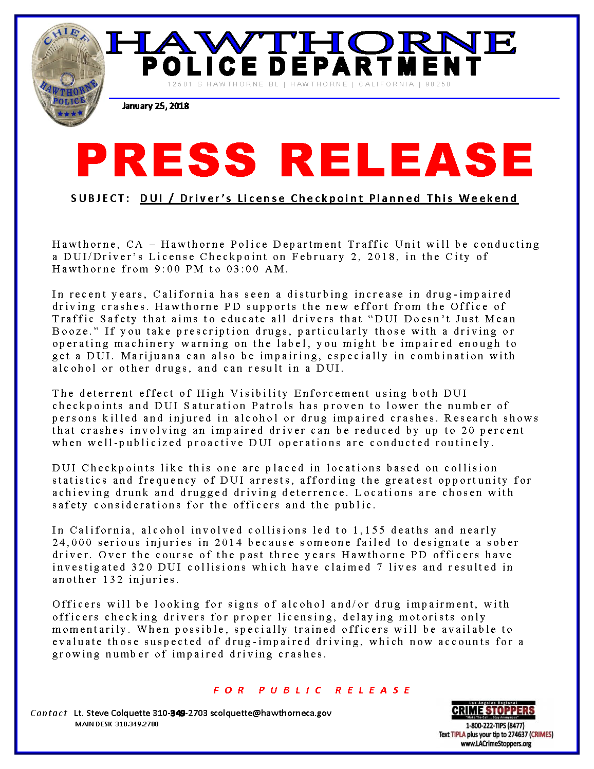 DUI/DRIVER'S LICENSE CHECKPOINT FEB 2 — Hawthorne police