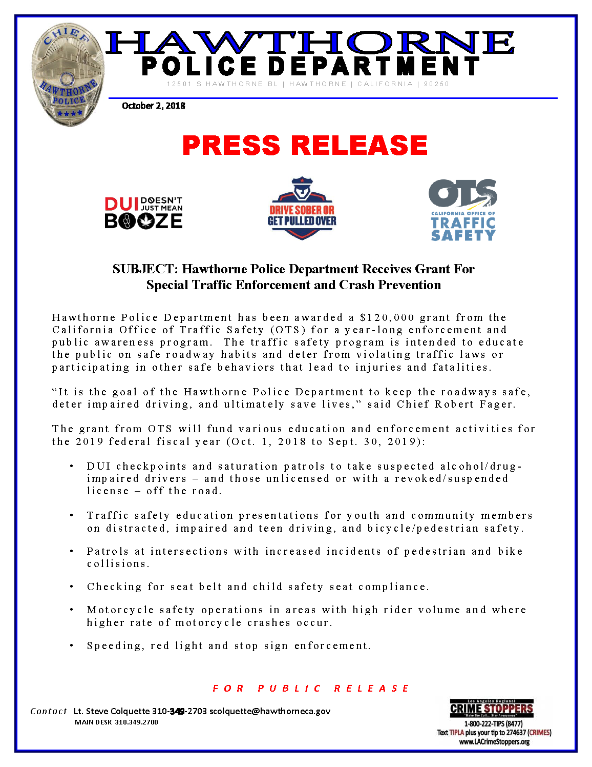 Hawthorne Police Department Receives Grant For Special