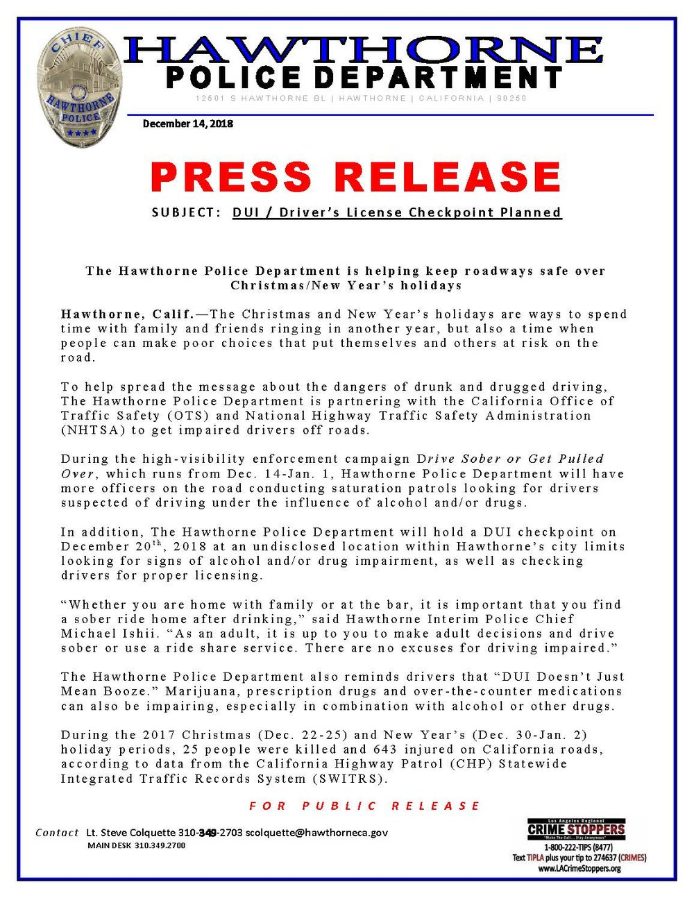 DUI/Driver's License Checkpoint Planned - pg1