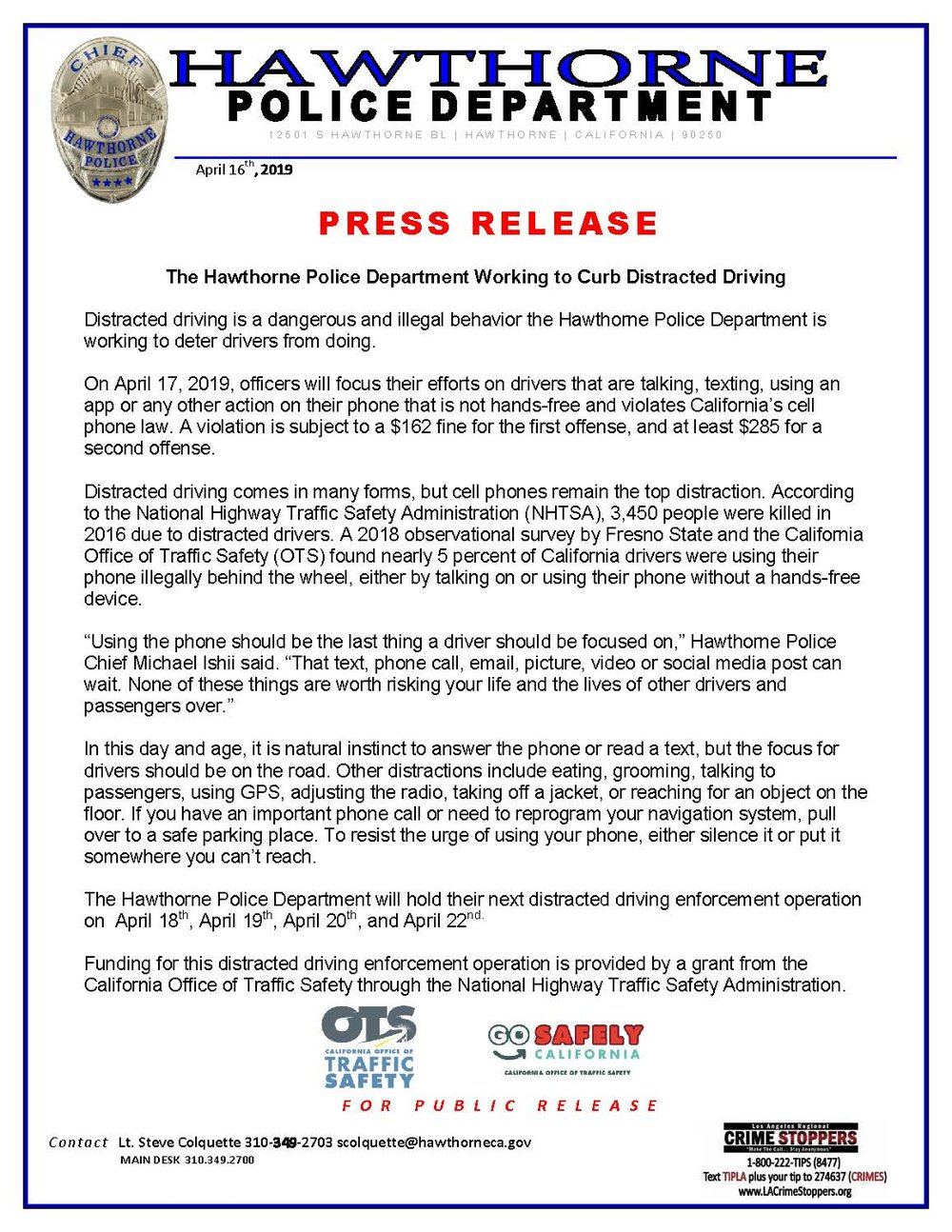 Curb Distracted Driving Press Release #2