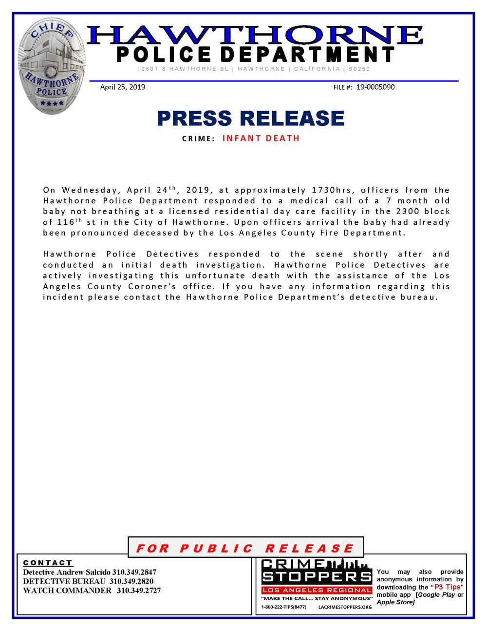 Press release - Infant Death 04-24-2019.png