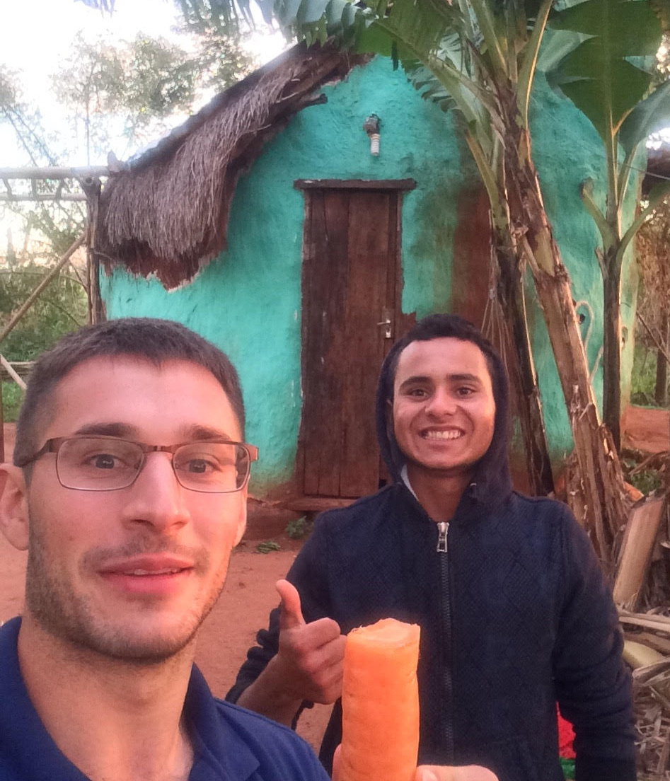 David Trapp (2005) with his site contractor Arturo Martinez in front of his future home in Paraguay.