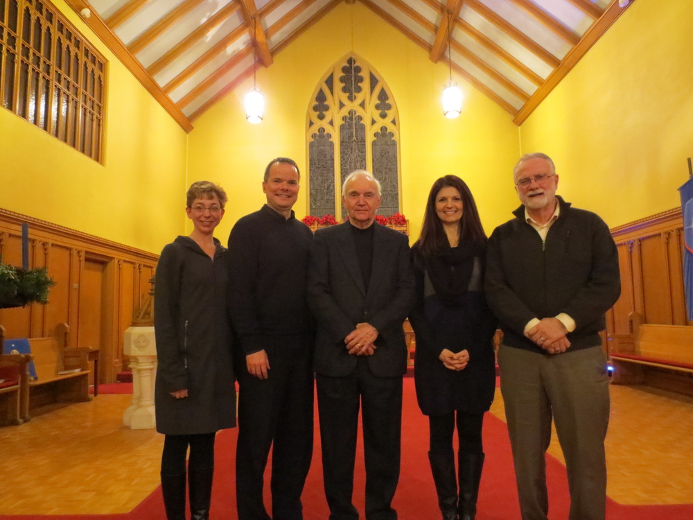 Our fabulous readers for Charles Dickens' 'A Christmas Carol'. Left to right: Kimberly Strassburger, Rev. David Malina, Gary McLaren, Eugenia Schatz, Cambridge Mayor Doug Craig. December 13, 2013
