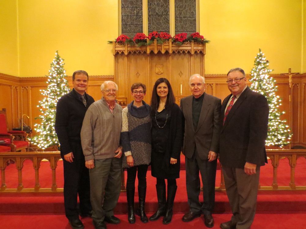 Our amazing readers for the dramatic reading of Charles Dickens' 'A Christmas Carol'. From left to right, Rev. David Malina, Bill Inkol, Kimberly Strassburger, Eugenia Schatz, Gary McLaren, and standing in for Mayor Doug Craig, Karl Kiefer, Regional Councillor for Cambridge. December 2014.