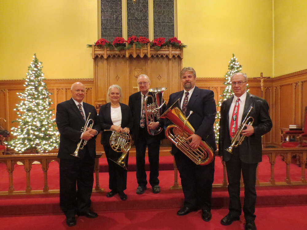 Members of Grand River Brass who along with accompanist Bradley Moggach, provided wonderful music to enhance the dramatic reading of Charles Dickens' 'A Christmas Carol', December 2014.