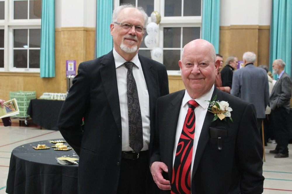 Douglas Haas and Bradley at the reception held to celebrate Douglas's 50 years as organist at St. Andrew's Presbyterian Church.  As president of the Waterloo-Wellington chapter of the Royal Canadian College of Organists it was my pleasure to presentDouglas with a Lifetime Membership in the College. (May 5, 2017)