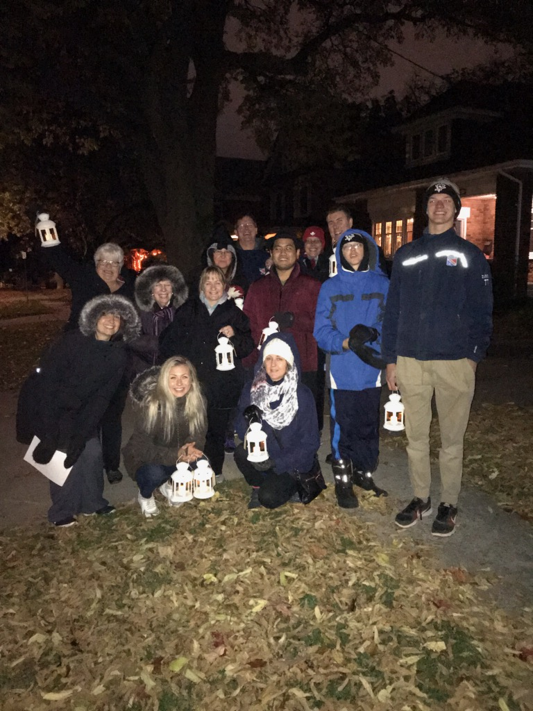 A hearty group of folks participated in the Moonlit Memory Walk which took place on Wednesday, October 24th and was sponsored by Home Hospice Association, Waterloo Region, and St. Peter's Evangelical Lutheran Church, Cambridge.