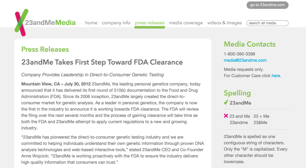 23andMe Takes First Step Toward FDA Clearance