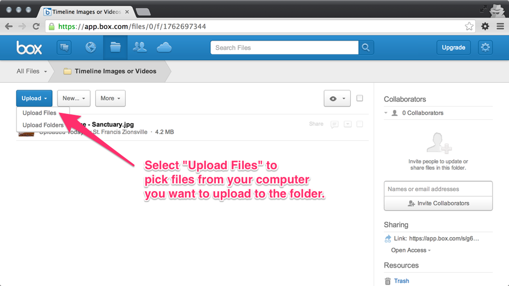 "Step 2: Chose ""Upload Files"" and then pick the files on your computer you want to upload."