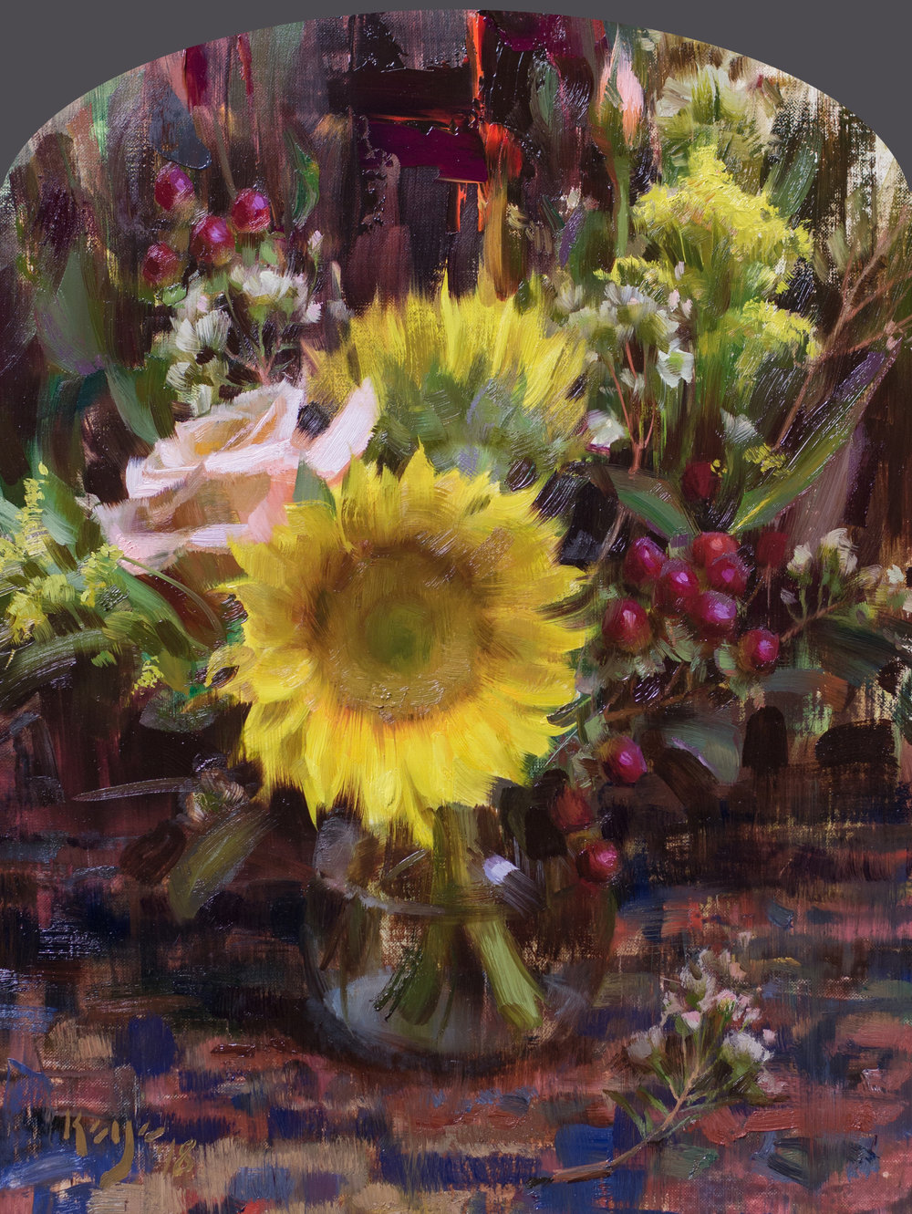 Sunflower Bouquet, 16 x 12 inches, oil on linen