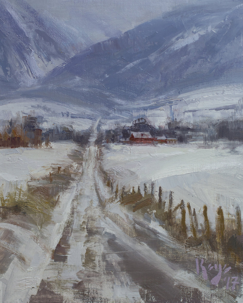 Winter Road, 10 x 8 inches, oil on linen