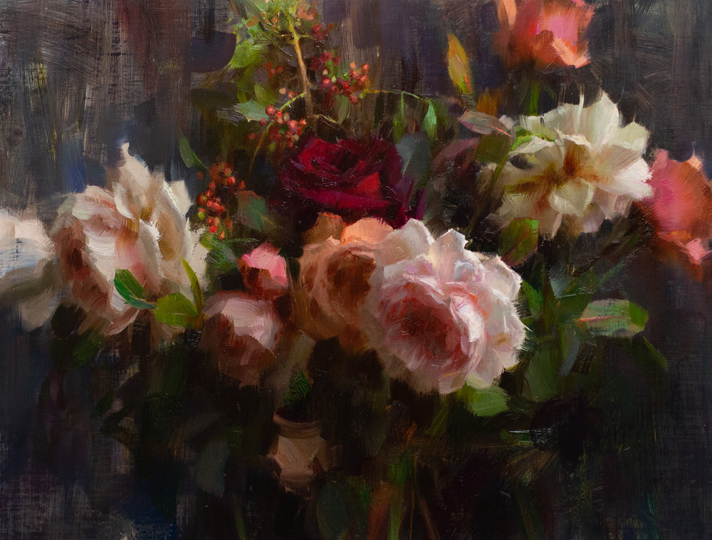 Last of the Garden Roses, Daniel Keys, 2018, 14 x 18 inches, oil on linen.jpg
