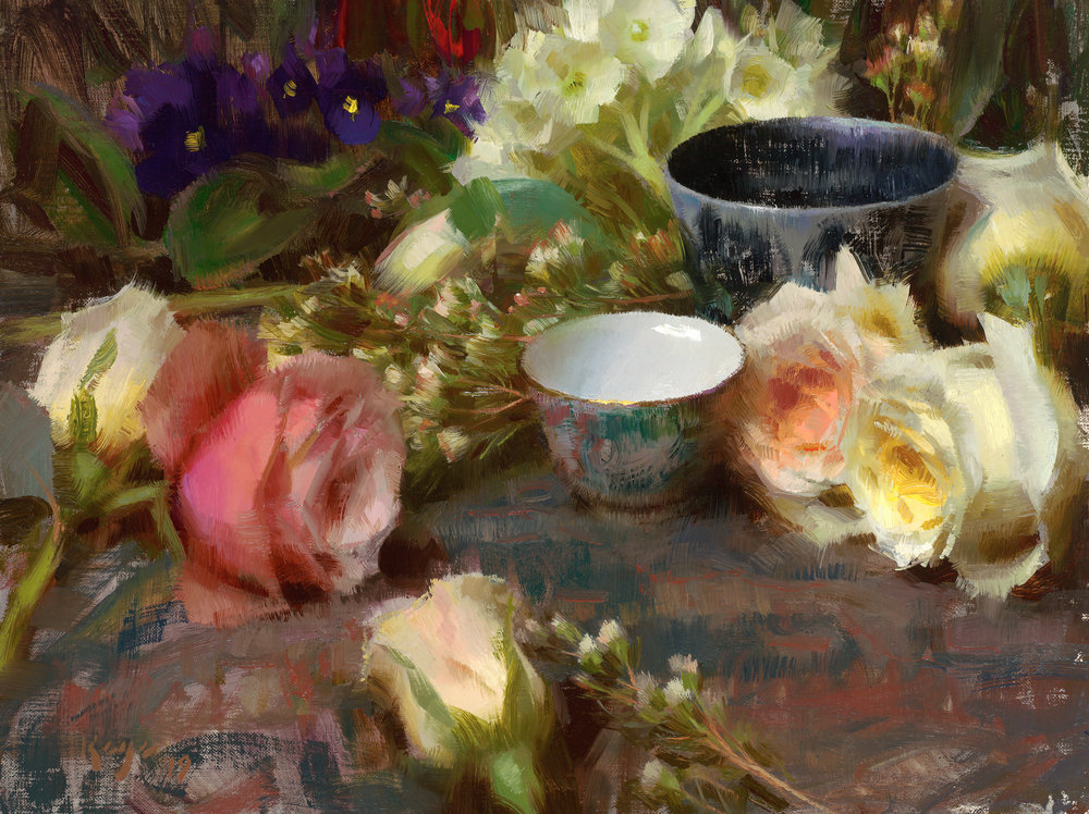 Summer Flowers & Cups, Daniel Keys, 2019, 11 x 14 inches, oil on linen.jpg